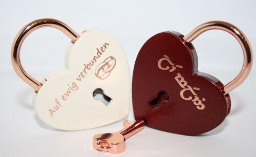 Gravur nach Wunsch Groß 60x45mm NEU Liebesschloss Herz ROT oder WEIß rosegold