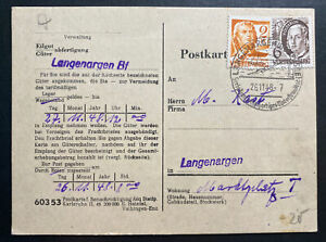 1948 Langenargen Germany Allied occupation Postcard Cover Locally Used