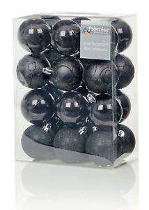 24X-Negro-Grande-Bolas-6cm-Adornos-para-Arbol-de-Navidad-con-Purpurina-Mate-amp