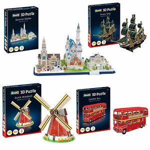 Sparangebot-4-x-Revell-3D-Puzzle-Set-Windmuehle-Bus-Piratenschiff-Skyline