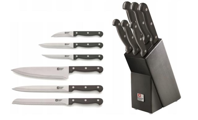 Küchenmesser Schere Messer Richardson Sheffield Messerblock Set Natural 7-tlg