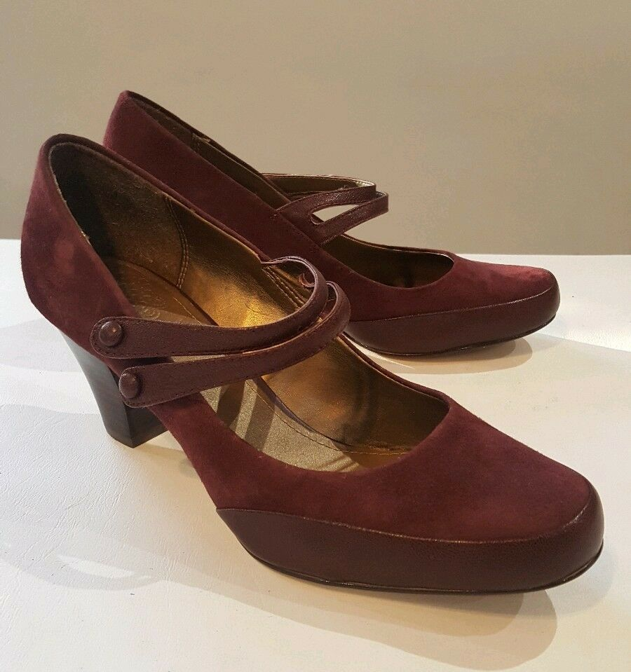 CLARKS Ladies Burgundy Suede Leather Combi Mary Jane Court shoes UK 6.5 D