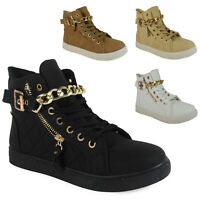 WOMENS LADIES ANKLE LACE UP GOLD FLAT HI-TOP CHAIN SHOES BOOTS TRAINERS SIZE