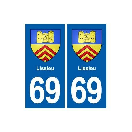 69 Lissieu blason autocollant plaque stickers ville -  Angles : droits