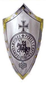 Lámina-Medieval Escudo De Plata Con Caballo Crest (imagen Arte Rey Arturo)  </span>