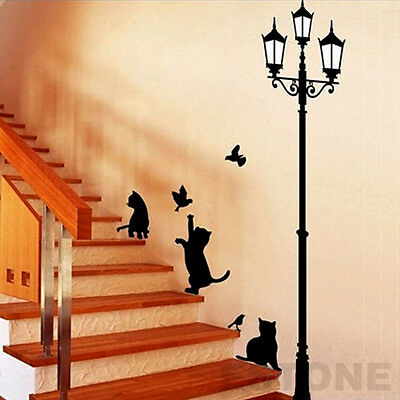 Street Light And Cat Room Decor Removable Art Vinyl Decal Mural Sticker PVC Wall