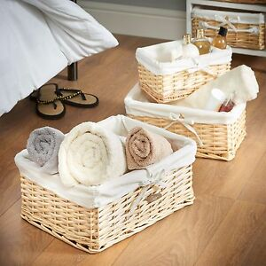 VonHaus 3 Large Wicker Rattan Home Storage Basket Organizers with Liners