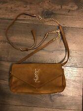 Saint Laurent YSL Brown Suede Flap Chain Cross body Bag