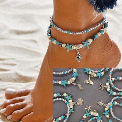Beach Ankle Bracelet Ocean Anklet Shell Starfish Heart Turtle Mermaid Boho Beads