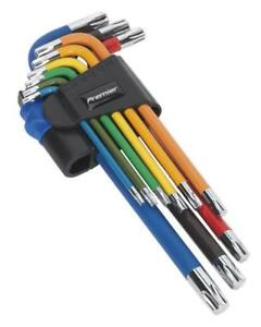 Sealey-AK7193-Trx-Estrella-Torx-clave-conjunto-9pc-largo-codificados-por-colores