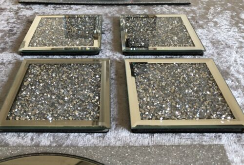 CRUSHED DIAMONDS MIRRORED Coasters Set 4 BLING SPARKLE New