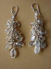 Sterling Silver Sri Lankan Blue Moonstone Bunch Drop Earrings (10E50) (NEW)