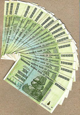 Zimbabwe 10 Billion Dollars x 10 pcs AA//AB 2008 P85 VF currency bills