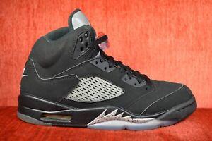 CLEAN-Nike-Air-Jordan-5-Black-Metallic-OG-Size-8-5-Silver-2016-845035-003-00