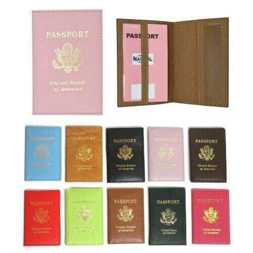 Cuir US Passport Support Carte D'Identité Voyage Étui Portefeuille Cache Agenda