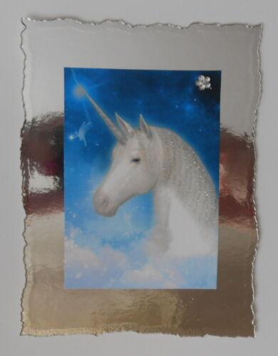 PK 2 Hermoso Unicornio en Plata respaldo ADORNOS PARA TARJETAS O MANUALIDADES ***