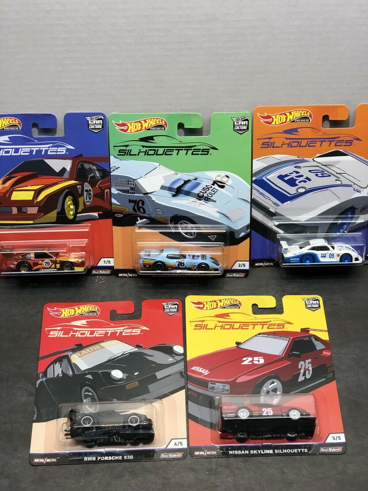 HOT WHEELS 2019 CAR CULTURE SILHOUETTES COMPLETE COMPLETE COMPLETE SET-5 Real Riders, Metal Metal 4a0b40