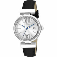 Invicta Women's Watch Wildflower Silver Tone Dial Black Leather Strap 15542