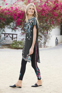 Johnny-Was-Annaliese-Legging-Black-Floral-LARGE-L-Embroidery-Flowers-Leggings-NW