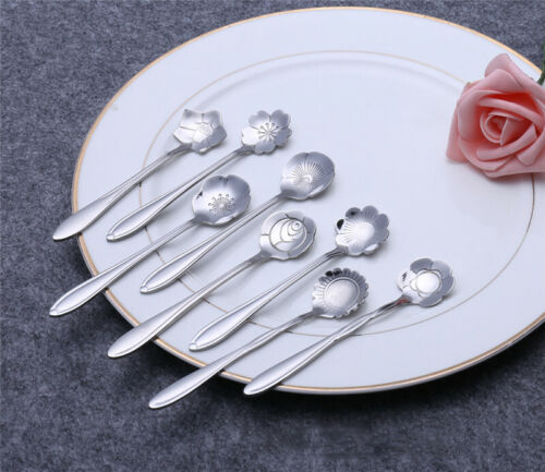 8pcs-Beautiful-Coffee Spoon Persian Daisy Sunflower Flower Spoon for Home Store