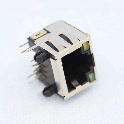 5Pcs RJ45 Modular Network PCB Jack 56 8P with LED Lamp NEW