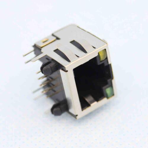 5Pcs RJ45 Modular Network PCB Jack 56 8P with LED Lamp NEW