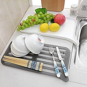 honla 2 tier small dish drainer with drain board plastic dish drying rack and dr 601308990910 ebay. Black Bedroom Furniture Sets. Home Design Ideas