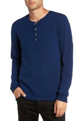 John Varvatos Star USA Men/'s Smoke Light Gray Wool Blend Henley Pullover Sweater