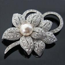 Luxus Brosche Vintage Braut Strass Kristall Perle Silber/Klar 55 mm X 40mm Blume