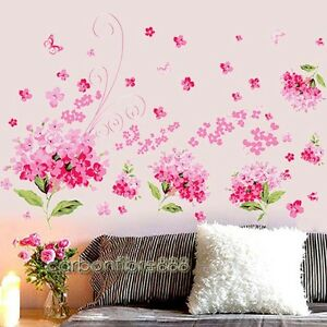 Pink Hydrangea Flowers Wall Stickers Removable Art Decor Floral