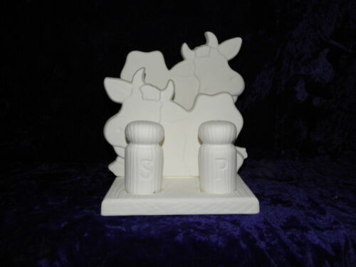 Ceramic Bisque Country Cow Salt, Pepper and Napkin Holder
