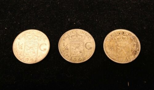 LOT OF 3 NETHERLANDS EAST INDIES 1//4 GULDEN SILVER AU COINS