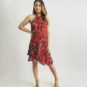 Parker Red Paisley Print Mini Dress Size XS