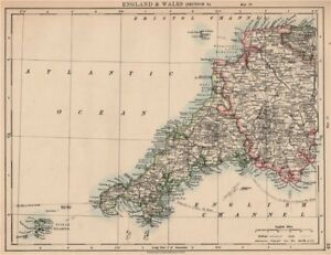 South Devon England Map.South West England Devon Cornwall Scilly Isles Johnston 1906 Old