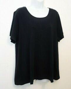 J-Jill-Top-Plus-Sz-2X-BLACK-Pima-Cotton-Shirt-Tee-Scoop-Neck-NEW-Relaxed-Fit