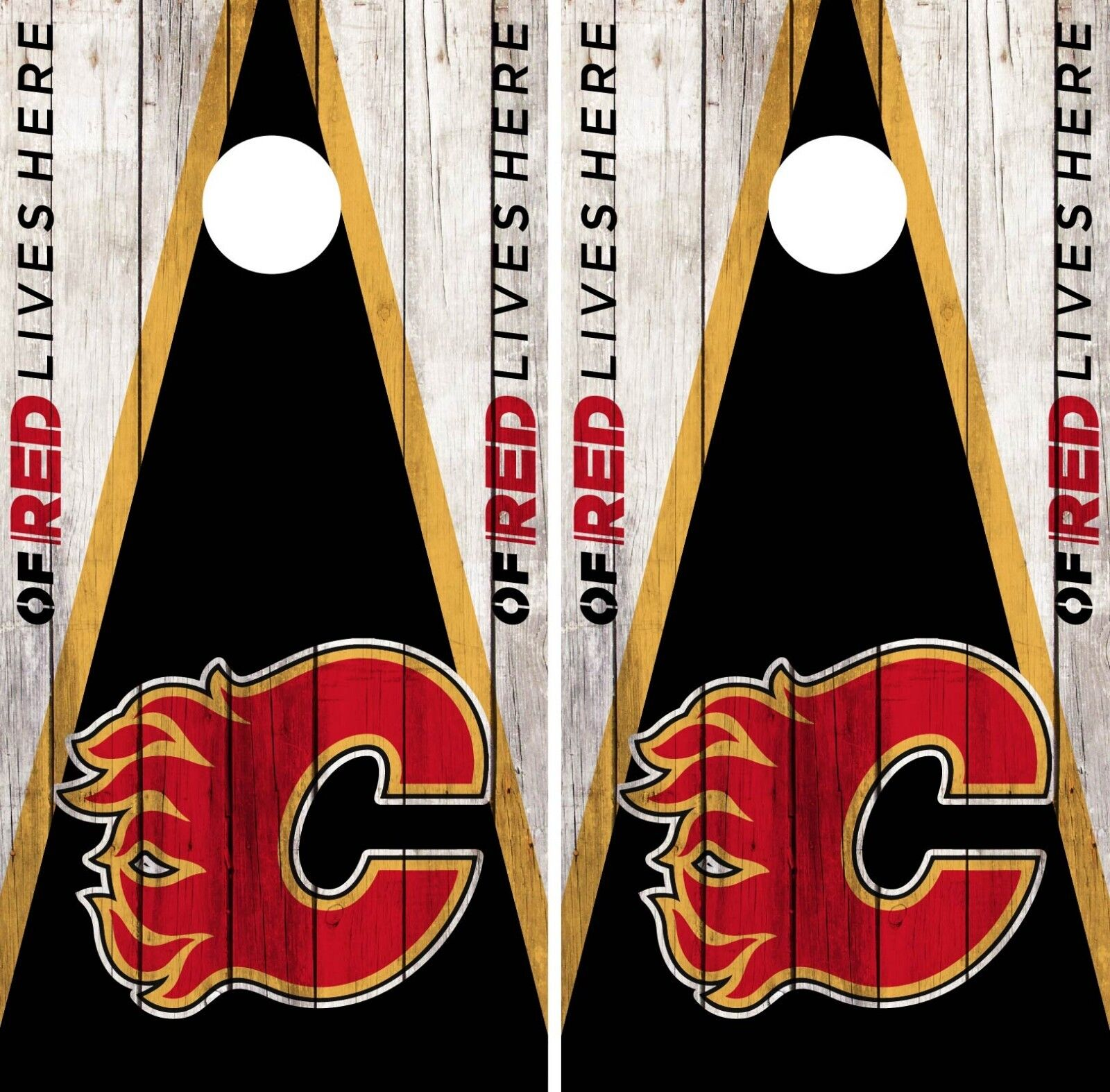 Calgary Flames Cornhole Wrap NHL Team Flag Game Board Skin Set Vinyl Decal CO185