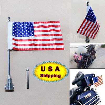 Motorcycle American US Flag Black Pole Luggage Rack Rear Side Mount Universal #K