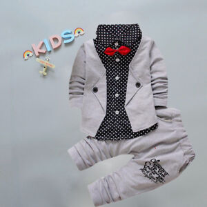 a5839729745fe Details about Kid Baby Boy Gentry Clothes Set Formal Party Christening  Wedding Tuxedo Bow Suit