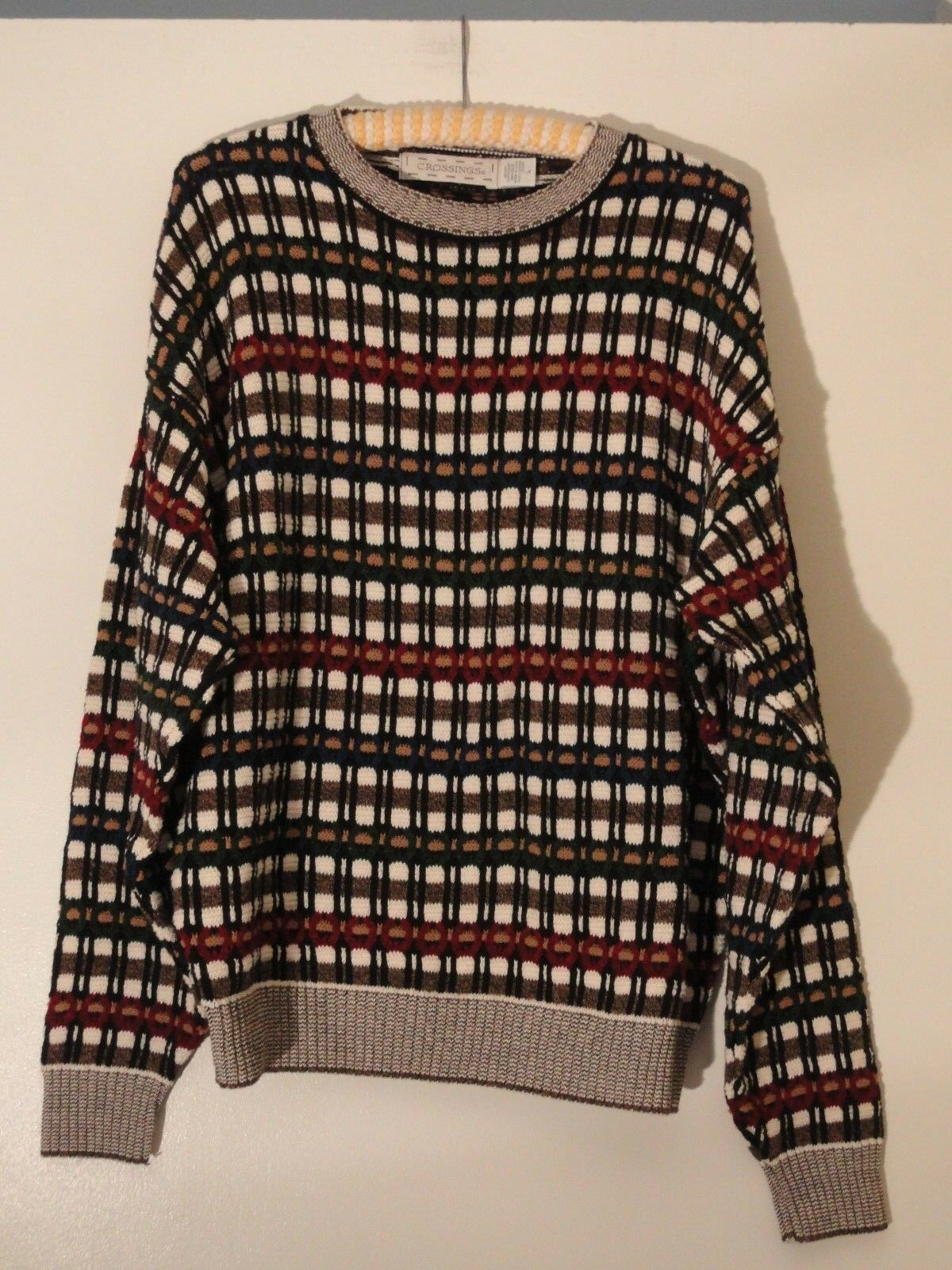 Crossings NEW Sweater Mens L 100% Cotton USA Taupe bluee Red Ivory Plaid NWOT LG