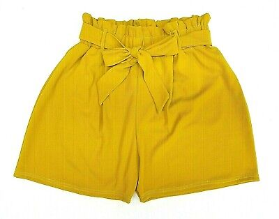 **new 2019 Look Summer Mustard Plus Size & Curve High Waist Paper Bag Shorts**