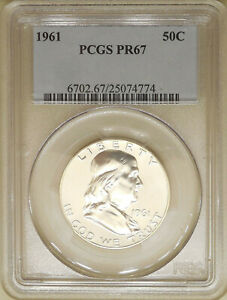 1961-PCGS-PR-67-Franklin-silver-half-dollar-proof-GEM-no-toning-blast-white