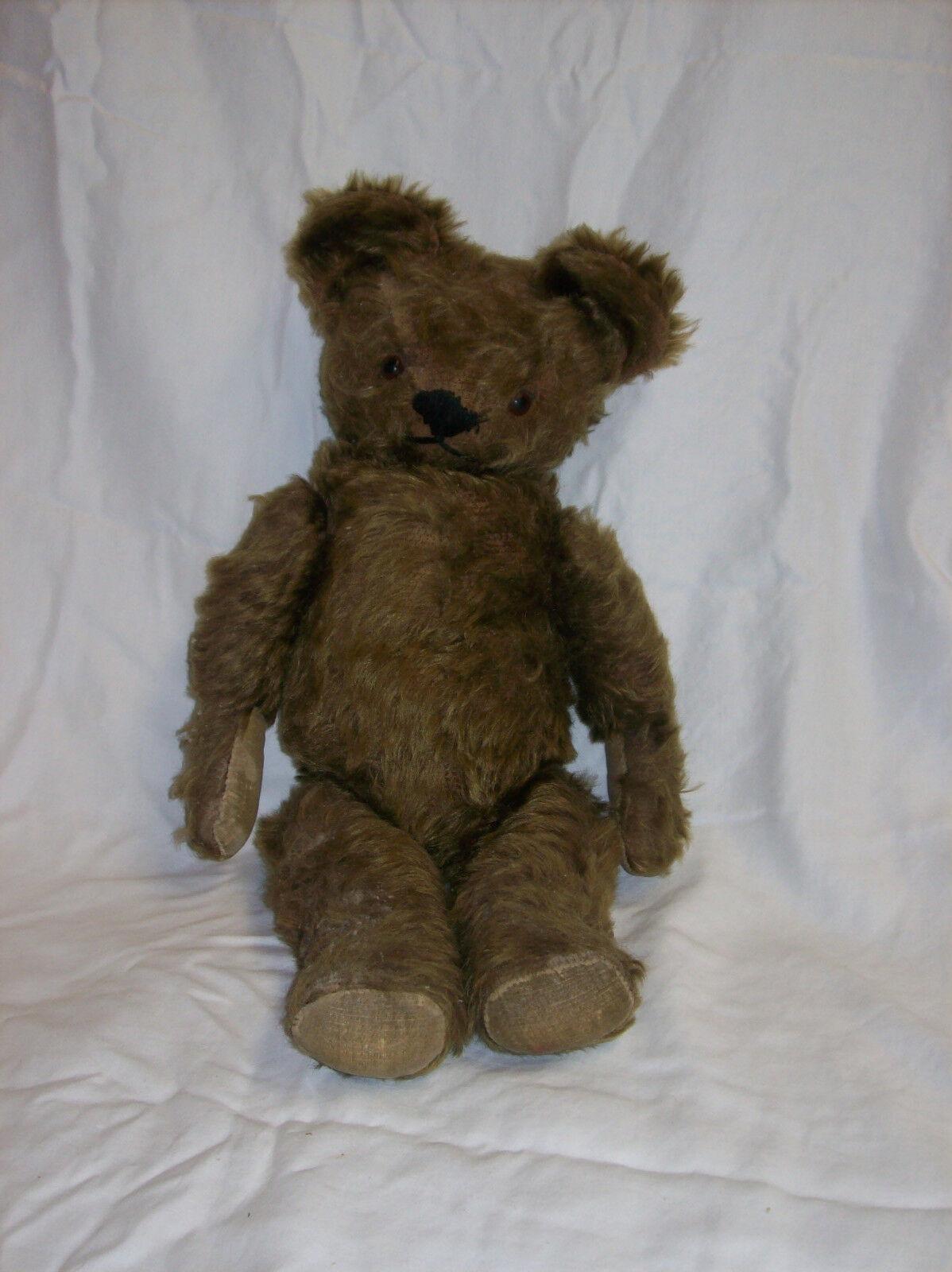 Antique Dark braun Mohair Teddy Bear Jointed 18  Good Shape
