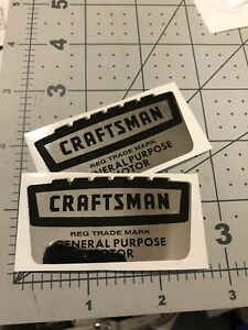 Craftsman-Motor-vintage-1958-60-s-Decal-Crown-Black-On-Chrome-2-1-2-Set-2