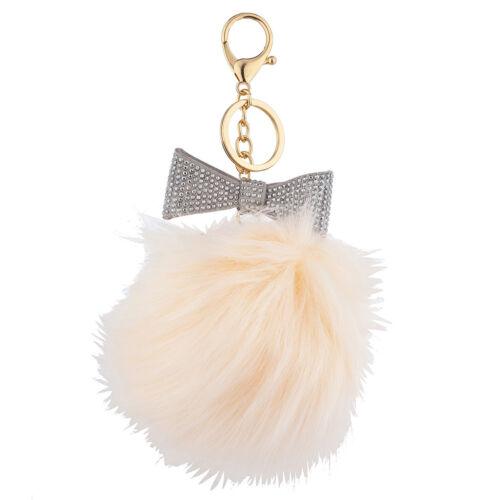 Lux Accessories Grey Sticker Stone Bow Pink Faux Fur Pom Pom Keychain Bag Charm