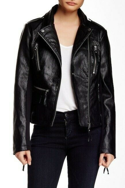 BNCI By Blanc Noir Womens Black Vegan Leather Metal Jacket Size M 133360