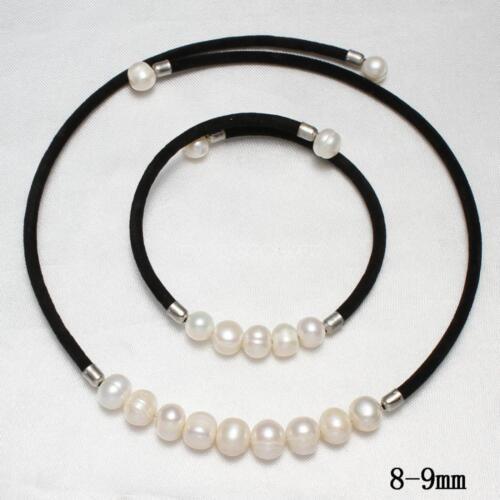 "Natural Cultured Freshwater Pearl Crystal Bracelet /& Collier Bijoux Sets 18/"""