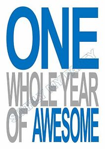 iron on transfer sticker one whole year of awesome 1st birthday