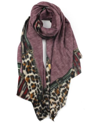 Woman Season Boutique Cashmere Blend Leopard Boarder Printed Winter Scarf UK