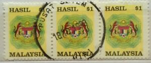 Malaysia Used Revenue Stamps - 3 pcs $1 Stamp (Old Design Small Size)
