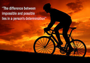 J MOTIVATIONAL  POSTER PRINT PICTURE CYCLING  INSPIRATIONAL